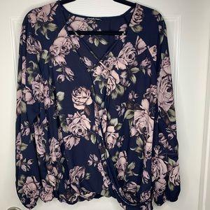 Charlotte Russe Blue long sleeve top Pink Flowers